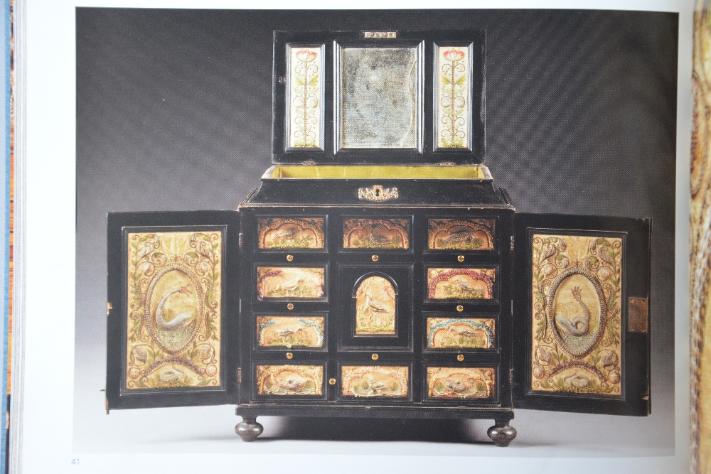 An exceptional 17thC Flemish ebony and rosewood cabinet-on-stand, silk embroidered inside, the - Image 27 of 30