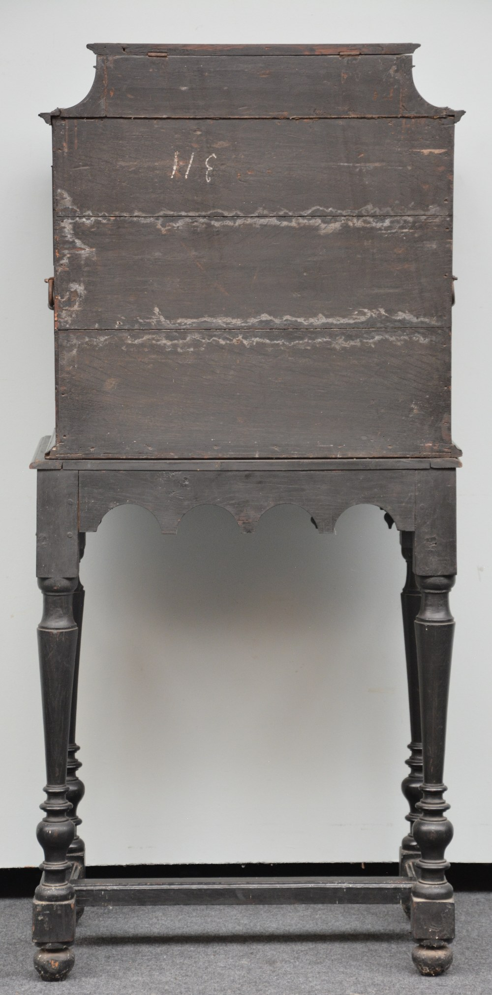 An exceptional 17thC Flemish ebony and rosewood cabinet-on-stand, silk embroidered inside, the - Image 17 of 30
