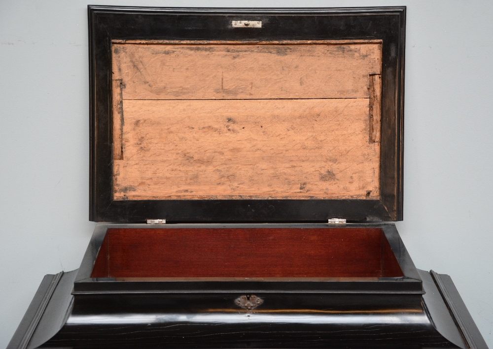 An exceptional 17thC Flemish ebony and rosewood cabinet-on-stand, silk embroidered inside, the - Image 12 of 30