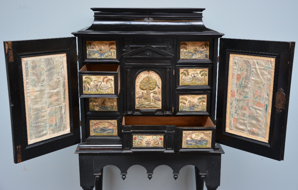 An exceptional 17thC Flemish ebony and rosewood cabinet-on-stand, silk embroidered inside, the - Image 9 of 30