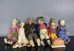 Marionetten-Theater (1.H.20.Jh.)6 verschiedene Figuren, jeweils Holz geschnitzt mit farbig