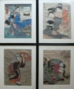 4 div. japanische Farbholzschnittejeweils Frauendarstellungen; jeweils unter PP hinter Glas gerahmt;