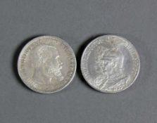 2 div. Silbermünzen Zwei Mark Friedrich I 1701/Wilhelm II 1901; Zwei Mark Wilhelm II, König von