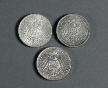 3 Silbermünzen jeweils Wilhelm II, König von Württemberg, 1911, 1913 und 1914