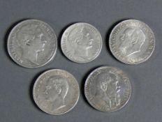 5 div. Silbermünzen Maximilian II, König von Bayern; RS Zur Erinnerung...1855; 1 Gulden 1855