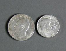 2 Silbermünzen Zwei Mark Friedrich und Luise von Baden 1906; Drei Mark Friedrich II H.v.Baden 1914