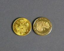 Goldmünze und Medaille Franz Josef I; Österreich/Ungarn 1915; D: 2 cm und Medaille (Kehl Stadt an