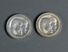 2 Silbermünzen Wilhelm II und Charlotte von Württemberg; 2x Drei Mark 1886 - 1911