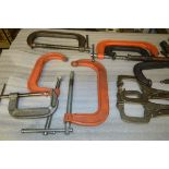 Box of Heavy Duty C Clamps and Vise Grips