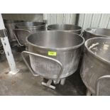 """Lot of (2) Stainless spiral mixer bowls, , 37"""" dia x 22"""" deep mix chamber, with 3 wheel bases"""