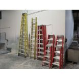 Lot of (8) Assorted Werner & Louisville fiberglass ladders, includes 20' extension, 12', (2) 8',