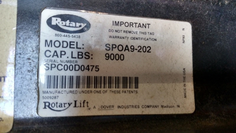 Lot 7 - Rotary SPOA9-202 / 9,000 Lb. 2-Post Surface-Mount Lift (Model Year: 2000), Extended Height (14'