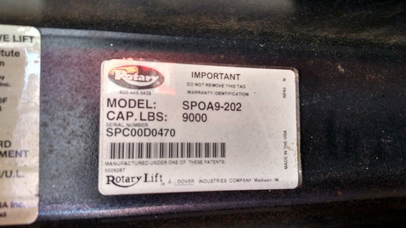 Lot 14 - Rotary SPOA9-202 / 9,000 Lb. 2-Post Surface-Mount Lift (Model Year: 2000), Extended Height (14'