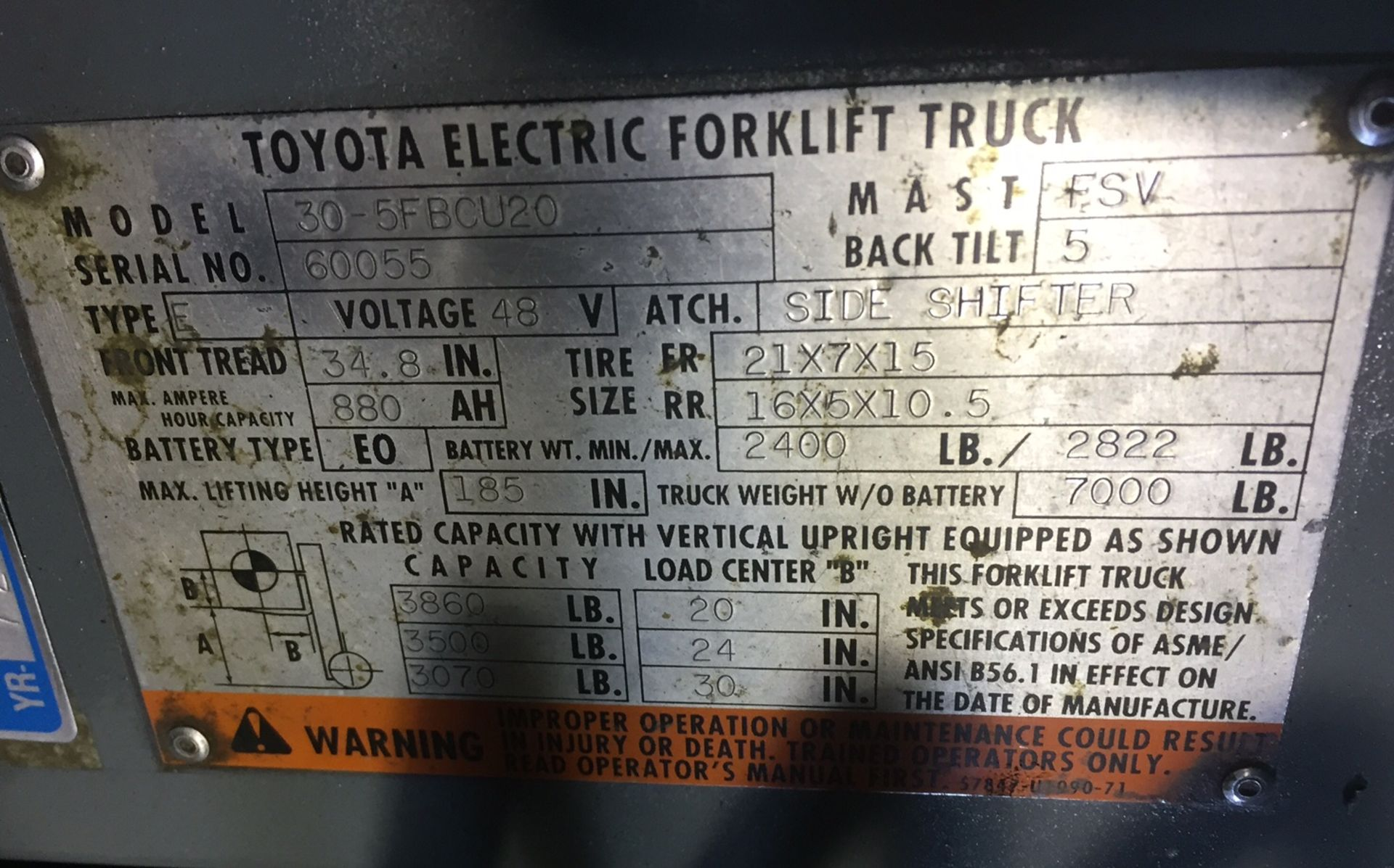 TOYOTA (30-5FBCU20) 48V/36V ELECTRIC FORKLIFT WITH CHARGER - Image 3 of 3