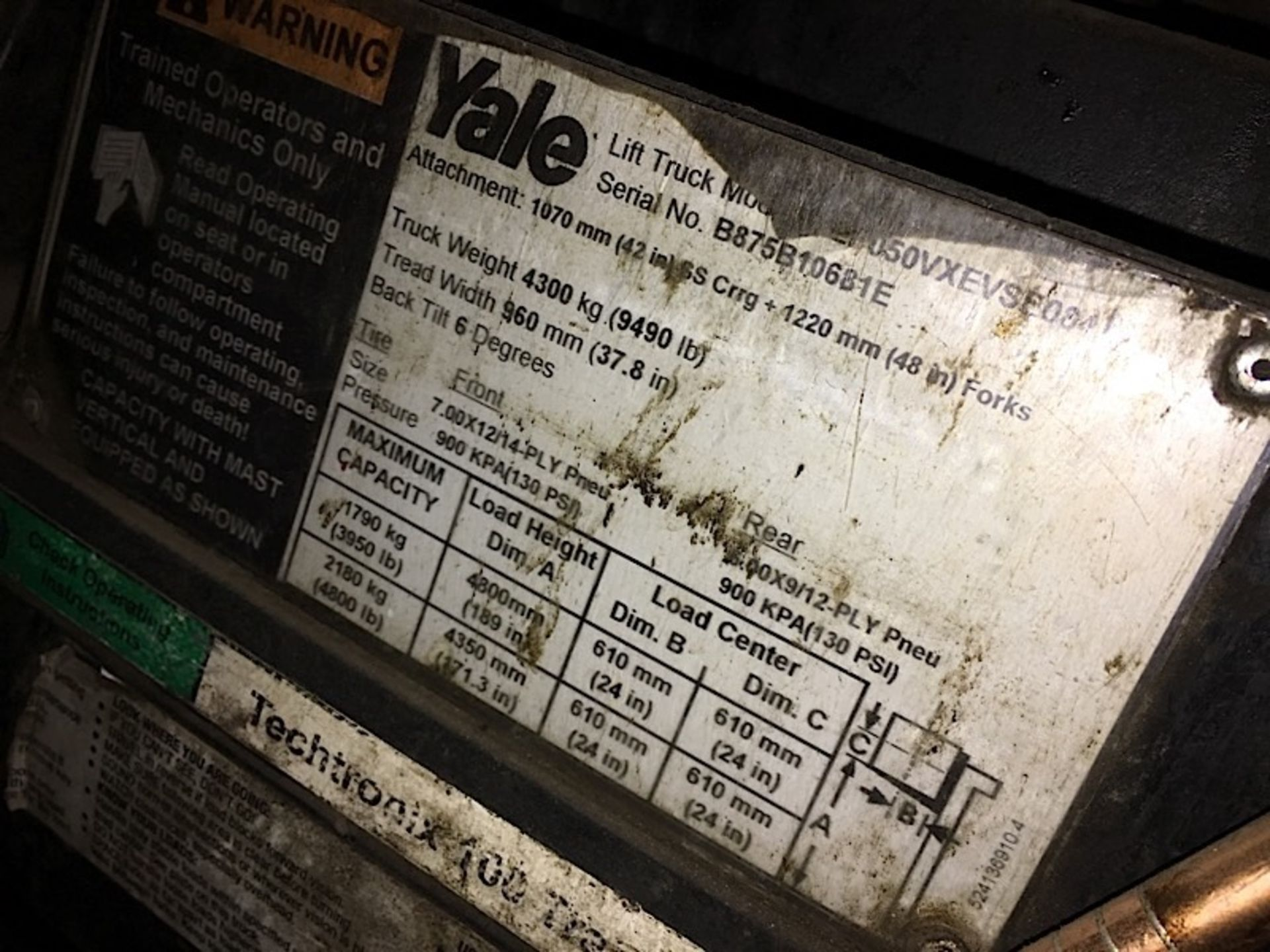 YALE 50VX FORKLIFT *NOT RUNNING* - Image 2 of 2