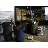 LOT OF HOUSEKEEPING SUPPLIES: trash cans, brooms, shovels
