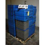 """LOT OF PLASTIC BINS, 12""""W. x 20""""L. x 6"""" dp., w/lids (approx. 127)"""