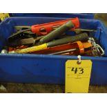 LOT OF TOOLS: caulk gun, hammers, squares, assorted