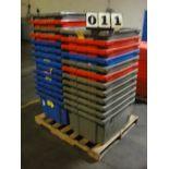 """LOT OF PLASTIC BINS, 24""""W. x 30""""L. x 15"""" dp., w/lids (approx. 24)"""
