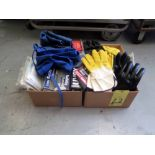 LOT CONSISTING OF: gloves, goggles, shop aprons, assorted (in two boxes)