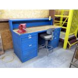 """MAPLE TOP WORKBENCH, multi-drawer, 6"""" vise, mtd. to table top"""