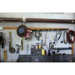 LOT OF TOOLS, misc. (on tool bench)
