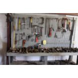 LOT OF TOOLS, misc. (on bench)