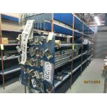 LOT CONSISTING OF: stackable metal bins, flexible hose, truck parts (on one shelf)