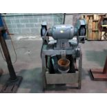 BENCH GRINDER, approx. 2 HP motor, on fabricated stand