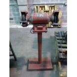 PEDESTAL GRINDER, MILWAUKEE, 3/4 HP motor, fabricated stand