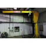 FREE STANDING PEDESTAL JIB CRANE, ABELL-HOWE 1 T. CAP., w/Coffing 1 T. electric chain hoist