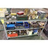 METAL RACK, w/hand tools & fasteners