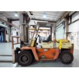 """FORKLIFT, NISSAN MDL. VFO5H70V, diesel pwrd., 15,500 lb. cap. @ 24"""" L.C, 14,305 lb. cap. @ 28"""" L.C.,"""