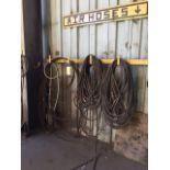 LOT CONSISTING OF: bandsaw blades & air hose (wall mtd.)