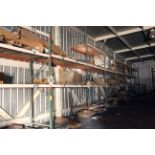 """LOT OF PALLET RACK SECTIONS (13), mostly 9' x 42"""" x 15' ht., 2-tier & 4-tier, assorted, w/contents"""