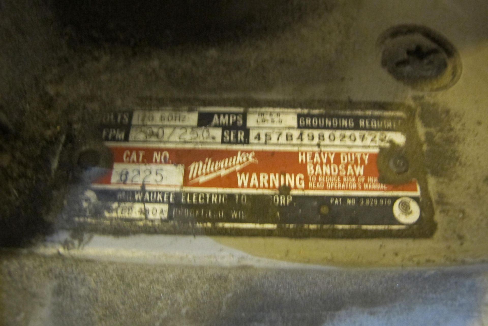 Milwaukee Cat #6225 Heavy Duty bandsaw - Image 2 of 3