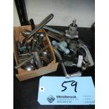 Assortment of machine handles and chuck keys on shelf (shelf not included)
