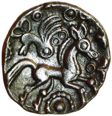 Whaddon Bird. c.55-45 BC. Celtic silver unit. 13mm. 1.16g.