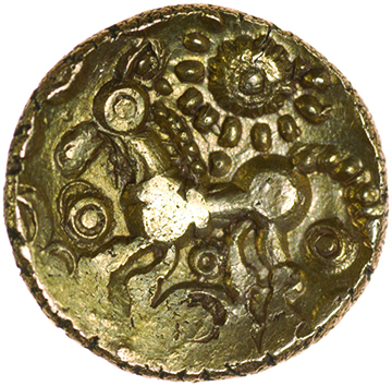 Chichester Cogwheel. c.50-40 BC. Celtic gold quarter stater. 12mm. 1.22g. - Image 2 of 2