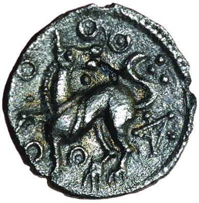 Sam Pentagram. c.AD 1-15? Celtic silver unit. 13mm. 0.89g. - Image 2 of 2
