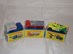 A group of three Matchbox Lesney vehclces to include a number 15 refuse truck, a number 10 lorry