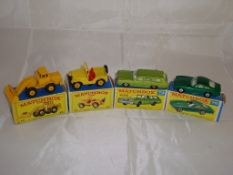 A group of Matchbox vehicles to include a number 69 digger, number 72 Jeep, number 73 and number 75.