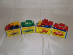 A group of Matchbox vehicles to include a number 43 tractor, number 64, 65 combine harvester and 67.