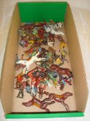 A selection of vintage diecast animals and figures in playworn condition by Britain's and others F-