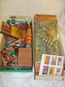 A large quantity of boxed and unboxed Timpo cowboy and indian and soldier toys VG in P-VG boxes