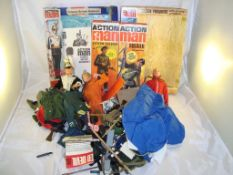 A selection of Action Man figures and accessories including associated empty boxes. G-VG with F-VG