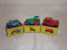 A group of three Matchbox Lesney vehicles to include a number 4 motorcycle with sidecar, a number