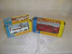 A pair of Matchbox emergency vehicles to inlcude a K-23 King Size police car and a K-15 Fire Engine.
