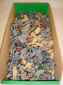 A large selection of plastic soldiers by Airfix and others mostly unpainted G-VG