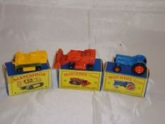 A groupf of three Matchbox Lesney vehicles to include a number 8 Caterpillar Truck, A number 58